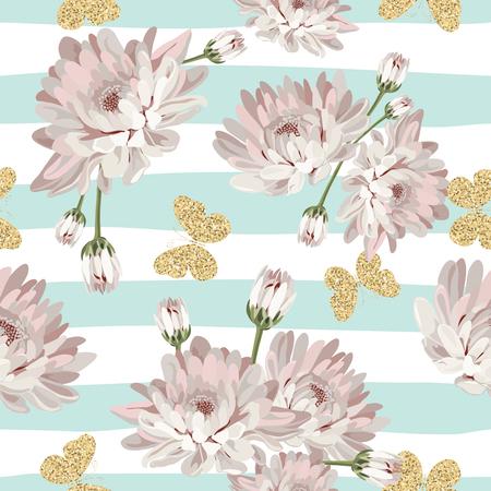 seamless floral. chrysanthèmes avec des papillons transparents sur fond rayé . vector illustration