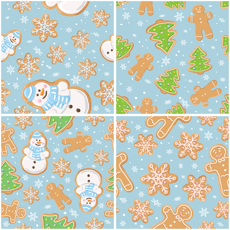 Set collections of Christmas gingerbread seamless patterns. Ginger cookies on blue background. Vector illustration. Cute backdrop for wallpaper, gift paper, textile, greetings cards