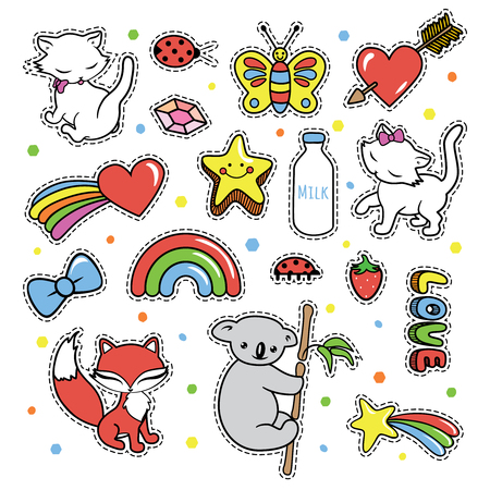 Stickers collections in pop art style isolated on white background. Trendy fashion chic patches, pins, badges design set in cartoon 80s-90s comic style. Vector illustration.