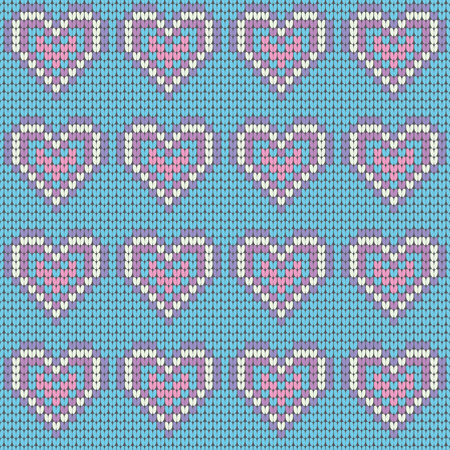 Valentines Day love heart knitted seamless pattern. Textures in blue, pink and white colors. Vector illustration.