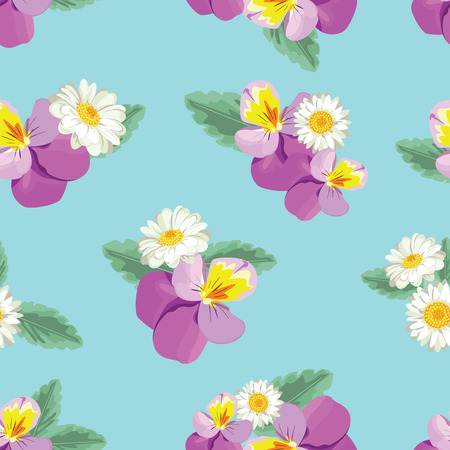 Floral seamless pattern. Pansies with glittering chamomiles on blue background. Vector illustration.