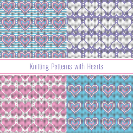 Valentines Day Love Heart Knitted Seamless Patterns Set Collection
