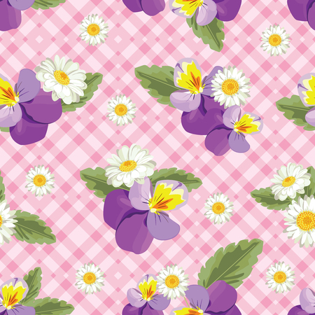 Floral seamless pattern. Pansies with chamomiles on pink gingham, checked background vector illustration.
