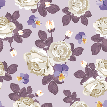 Retro floral seamless pattern. White roses with violet leaves, pansies on light purple background. Vector illustration.