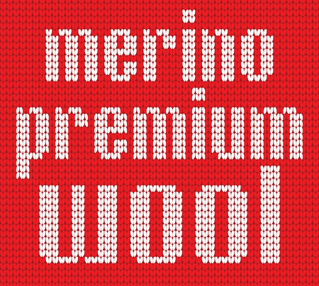 Knitted Text. Merino premium wool. Inr ed and white colors. Vector illustration