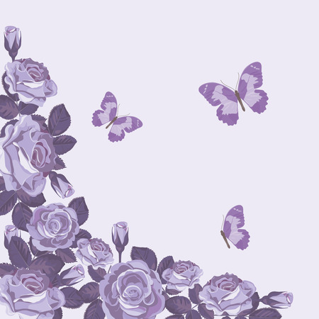 Floral card template with violet roses and butterflies. Beautiful spring background. Vector illustration. For wedding invitations, greeting cards, birthday, valentine, mothers and womans days