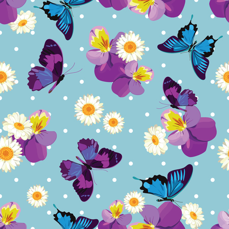 Floral seamless pattern. Pansies, chamomiles and butterflies on blue polka dot background. Vector illustration. Stock Illustratie