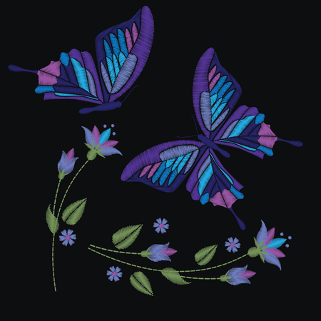 Set collection of butterflies and flowers isolated on dark background. Ilustrace