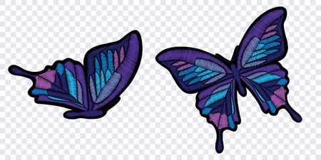 Butterflies isolated on transparent background. Vector illustration. Embroidery elements for patches, badges and stickers.