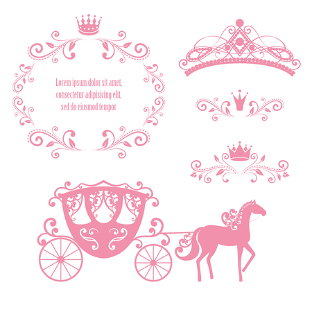 Design elements, vintage royalty frame with crown, ornamental style diadem, carriage in pink color. Vector illustration. Isolated on white background. Can use for birthday card, wedding invitations.