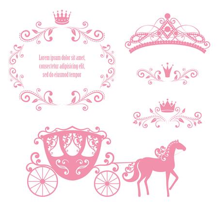 Elementy projektu, ramka w stylu vintage z koroną, ozdobny diadem, karetka w kolorze różowym. Ilustracji wektorowych. Pojedynczo na białym tle. Można użyć na kartkę urodzinową, zaproszenia ślubne. Ilustracje wektorowe
