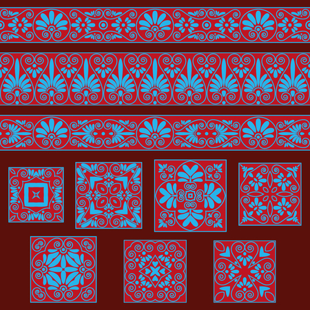 Set collections of old Greek ornaments. Antique borders and tiles in red and blue colors. Ethnic patterns. Vector illustrations.