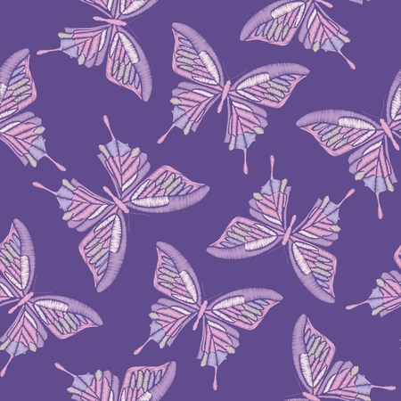 Ultra violet trendy seamless pattern. Embroidery butterflies on colors of the year 2018 background.