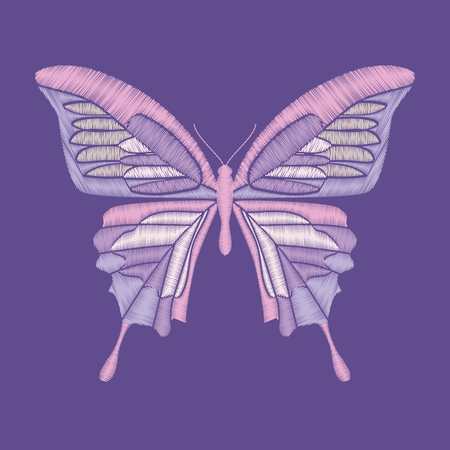 Embroidery butterfly on pantone colors of the year 2018 background. Vector element for patches, badges and stickers Ilustrace