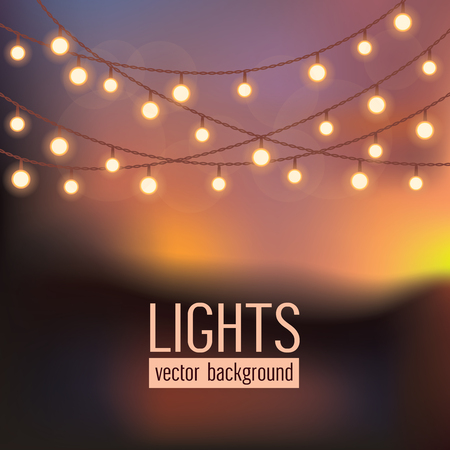 on abstract evening sky background.Set of glowing string lights on abstract evening sky background. Vector illustration Vettoriali