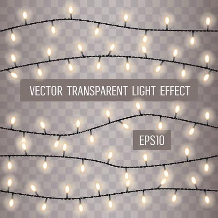 Colorful Garlands Christmas Lights Horizontal Lines On Transparent