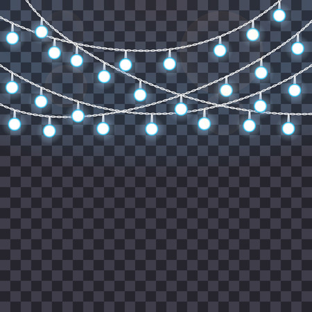 Set of overlapping, glowing string lights on a transparent background. Vector illustration. Template for greeting card, poster, banner.