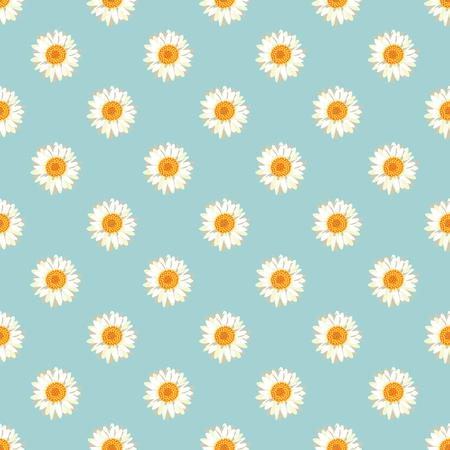Chamomile seamless pattern. Daisies on retro blue background. Vector illustration. Ilustrace