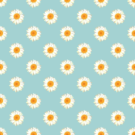 Chamomile seamless pattern. Daisies on retro blue background. Vector illustration. Vectores