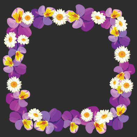Floral empty frame on black background. Pansies and camomiles . Vector illustration. Illustration