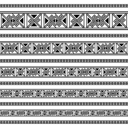 Decoration patterns in black and white colors. Geometrical ethnic border in different sizes set collection vector illustration. Brushes, can easy use as tattoos, frames, patterns, dividers. Banco de Imagens - 95332975