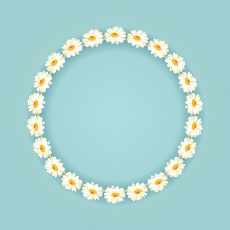 Chamomile pattern on vintage blue background, daisy chain. Round frame with shadow for your text or photo vector illustration, brush, easy to use.