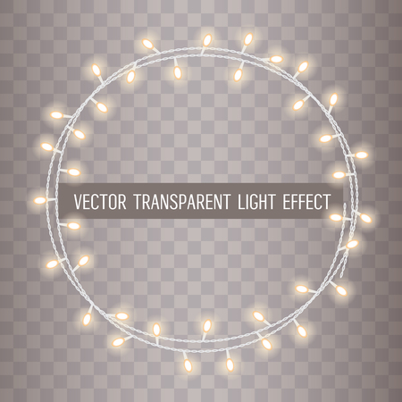 Round frame of overlapping, glowing string lights on a transparent background.