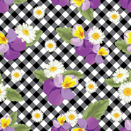 Motivo floreale senza soluzione di continuità. Viole del pensiero con chamomiles su percalle in bianco e nero, sfondo controllato.