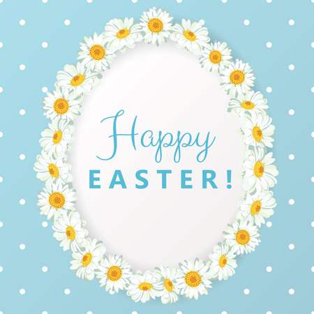 Happy Easter background with daisy chain. Chamomile egg shape frame with text on blue polka dot background. Vector illustration