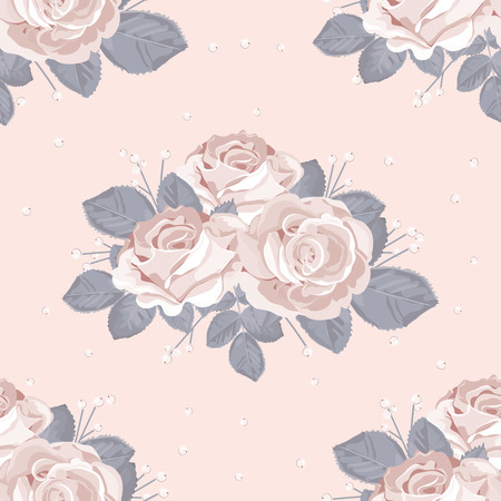 Retro floral seamless pattern. White roses with blue gray leaves on pastel pink background. Vector illustration.