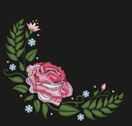 Flowers roses isolated on black background. Vector illustration. Embroidery folk neck line pattern
