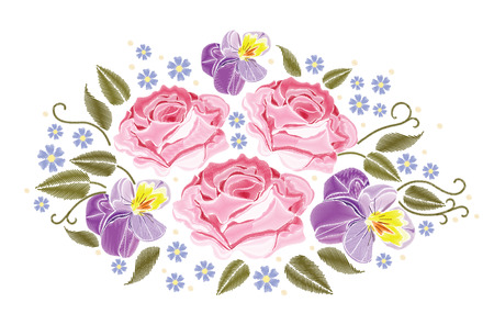 Flowers Roses And Pansies Isolated On White Background Vector