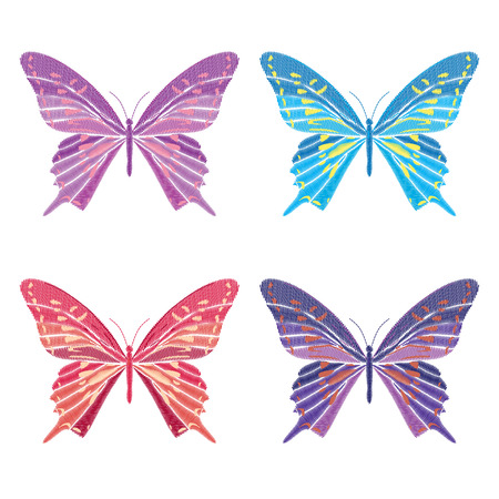 Set collection of butterflies isolated on white background. Vector illustration. Embroidery elements for patches, badges, stickers, greeting cards, patterns, t-shirts. Stock Illustratie