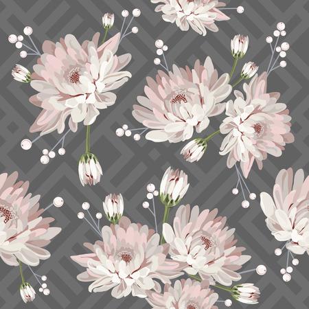 Floral seamless pattern. Chrysantemums on grey geometric background. Vector illustration