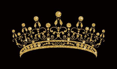 Glinsterende diadeem van gouden tiara geïsoleerd op zwarte achtergrond Vector illustratie