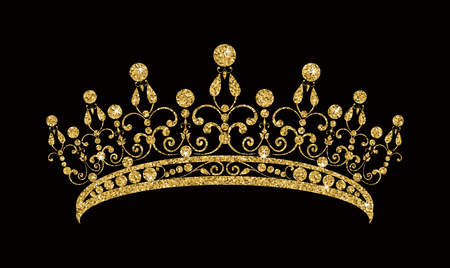 Glittering Diadem of Golden tiara isolated on black background Vector illustration