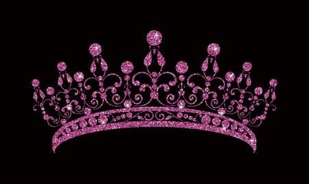Glittering Diadem. Pink purple tiara isolated on black background. Vector Illustration