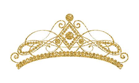 きらめくダイアデム。白い背景に隔離された黄金のティアラ。ベクトル図  イラスト・ベクター素材
