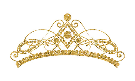 Glittering Diadem. Golden tiara isolated on white background. Vector illustration