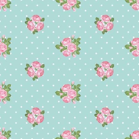 Shabby chic rose seamless pattern on light green polka dot background. Vector illustartion.