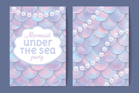Party invitation cards. Holographic fish or mermaid scales, pearls and frame with text. Vector illustration. Seamless pattern with clipping mask Ilustração