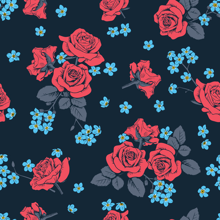 Red roses and myosotis flowers on dark blue background. Seamless pattern. Vector illustartion.