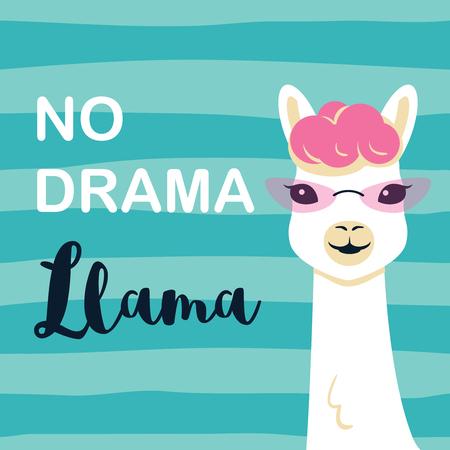 Cute cartoon llama character with No drama llama motivational quote. Vector illustration Vettoriali