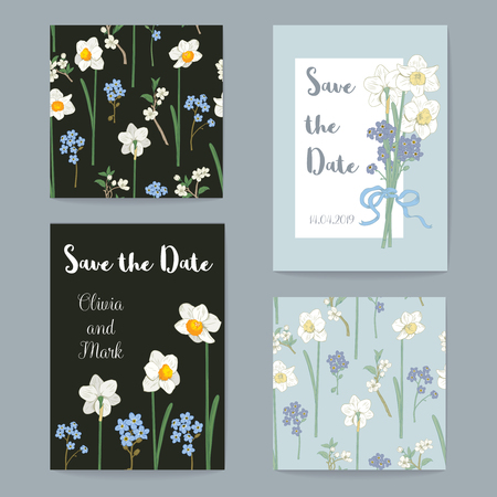 Floral Greeting Cards Set Collection. Vector illustration. Daffodils, forget me not flowers on black and blue backgrounds.