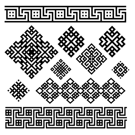 A set of black and white geometric designs. Signs and borders. Vector illustration.