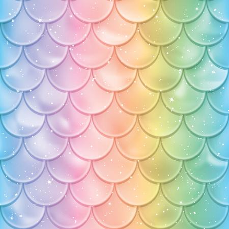 Escamas de pescado de patrones sin fisuras. Textura de cola de sirena en colores de espectro. Ilustración de vector. Diseño de impresión para textiles, carteles, tarjetas de felicitación o cumpleaños para niños, diseños para niños, etc.
