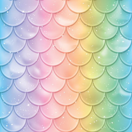 Fish scales seamless pattern. Mermaid tail texture in spectrum colors. Vector illustration. Print design for textile, posters, greeting or child birthday cards, kids designs etc.