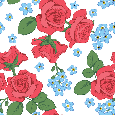 Red roses and myosotis flowers on white background on Seamless pattern.