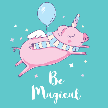 Cute pig as pegasus and unicorn. Isolated on white background. Vector illustration