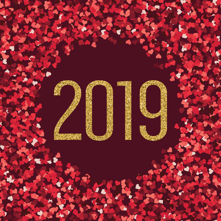 Happy new 2019 year. Gold and red hearts glitter. Holidays vector design element for calendar, party invitation, card, poster, banner, web